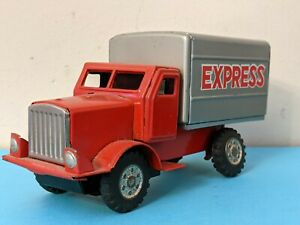 Vintage Tin Litho Express Red Delivery Truck Friction Motor Front Wheels Japan