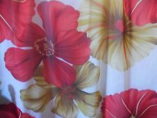 Chiffon Sheer Fabric Beige Cream Red Gold Floral Large Petal Sheer Fabric Bty