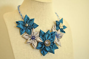 New Blue Silver Daisy Fabric Floral Crystal Bead Chain Metal Statement Necklace
