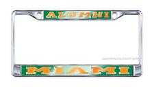 "UNIVERSITY OF MIAMI Mirrored ""ALUMNI"" License Plate / Tag Frame"