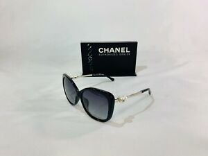 NEW CHANEL 5339 BLACK SILVER PEARL POLARIZED BUTTERFLY SUNGLASSES! SHIPS TODAY!!