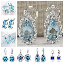 Women Fashion 925 Sterling Silver Aquamarine Earstud Hoop Dangle Earring Jewelry