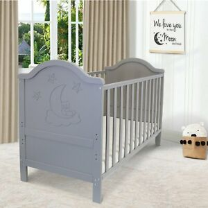 iSafe Baby Cot Bed Toddler Bed Junior CotBed Wendy (Grey) (Including Mattress)