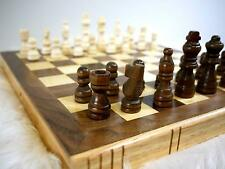 30cm Traditional Wooden Folding Chess Set Board Box Hand Carved With Lined Case