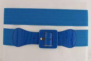 Women Belt Wide Elastic Light Blue Fashion Hip High Waist Square Buckle M L XL