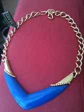 Stunning Vintage Modernist Monet Blue Enamel & Gold Tone Metal Choker Necklace
