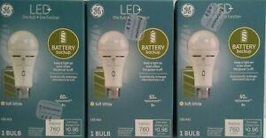 3 LED+ Backup Battery Light Bulbs, A21, Emergency Bulb, 60-Watt , Soft White,