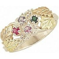Flattering Black Hills Gold and Sterling Silver 2-6 Genuine Stones Mothers Ring