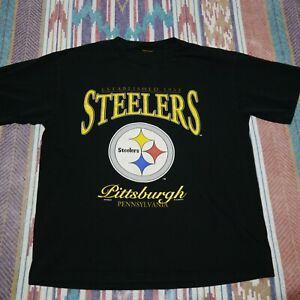 Vintage Pittsburg Steelers Shirt Adult XL Black Nutmeg Football NFL Mens 90s