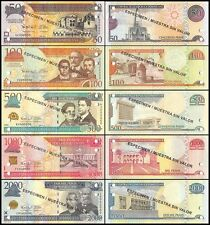 Dominican Republic 50 - 2,000 Pesos 5 PCS Specimen Set, 2012, P-183cs-188s, UNC
