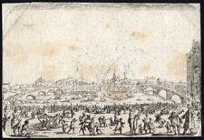 Antique Master Print-FIREWORKS-ARNO-FLORENCE-SPECTATOR-Callot-ca. 1640