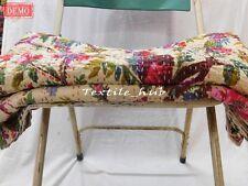 King Size Indian Handmade Vintage Kantha Quilt Bedspread Reversible Blanket Rali