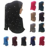 Muslim Women Amira Scarf Wrap Hijab Full Cover Rhinestone Headwear Shawl Islamic