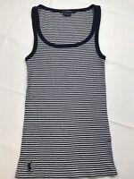 Ralph Lauren Sport Women's Tank Top Large Navy Blue/White Striped Cotton Shirt