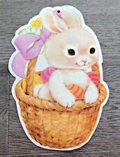 Easter Decoration Eureka USA Cardboard Die Cut Bunny Basket Eggs Vintage 12 x 8