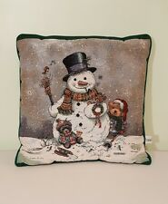 "Riverdale Christmas Tapestry Throw Pillow Snowman & Teddy Bears 16"" Sq Giordano"