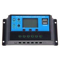 PWM LCD 20A Solar Panel Charge Controller 12V/24V Battery Regulator Dual USB