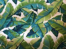 LARGE TROPICAL  LEAVES  FOLIAGE  TURQUOISE LIME GREEN OUTDOOR UPHOLSTERY FABRIC