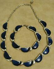 Vintage Signed Lisner Deep Blue Thermoset Necklace And Bracelet Parure Set