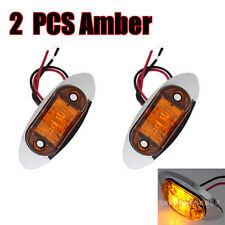2X Yellow Amber LED Side Marker Light Tip Chrome base ABS Clearance Lamp 12V 24V