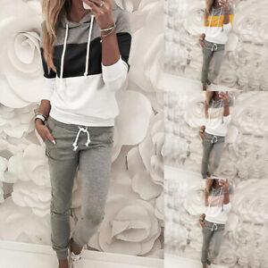 Women's 2 Piece Activewear Outfits Jogging Yoga Sweatshirt+Pants Tracksuit Set