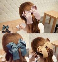 Hot Korean Women Multicolor Satin Ribbon Bow Hair Clips Barrette Ponytail Holder