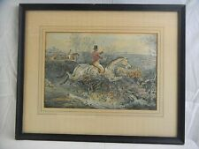 Great orig. signed Henry Alken(1785-1851) British Hunt Scene Watercolor Painting