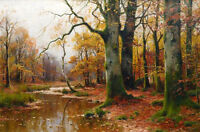 Art Oil painting Walter Moras - brook in autumn forest landscape no famed canvas