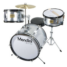 "MENDINI 16"" JUNIOR KID CHILD DRUM SET KIT W/ THRONE ~ METALLIC SILVER"