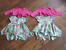 w age 6 - 9 months twin baby girls dresses Dress + boleros summer floral Party