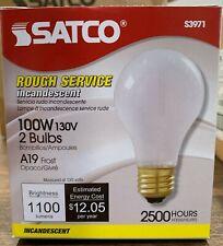 Satco S3971 / A19 Incandescent Rough Service Light Bulb 100W - 2 pk