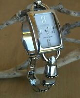 """Ecclissi Sterling Rectangular Case And Curved Cuff Bracelet 6"""" Wrist New Battery"""