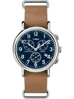 Mens leather band blue face watch