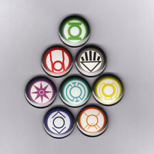 "GREEN LANTERN RING LOGOS 1"" PINS BUTTONS (yellow red blue black dc comics shirt"