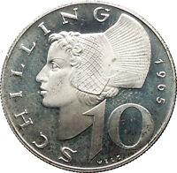 1965 Austria Wachau Woman 10 Schilling Silver Austrian Coin with Shield i53093