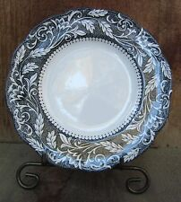"Staffordshire Fine China  7"" Plate Black & White Renaissance by J & G Meakin W@W"