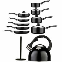 Black Ecocook Kitchen Non Stick Pots And Pans Stainless Steel Saucepan Set