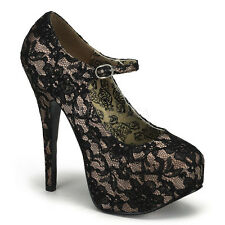 "Bordello 5.75"" Black Lace & Nude Satin Mary Jane Platform Pumps Shoes 11 *"