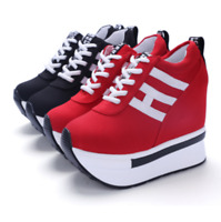 Fashion Womens/Students Lace Up High Platform Wedge Sneakers heels Casual shoes