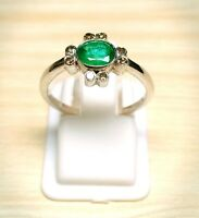 925 Silver Ring-Emerald Gemstone,Green Color Ring-Diamond Ring-Round Shape Ring