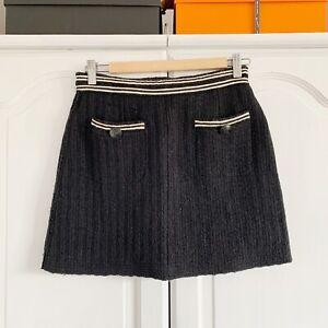 Authentic Chanel Black & White Wool Mini Skirt, Sz 40