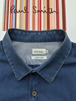 "Paul Smith Cotton / DENIM-STYLE SHIRT - Size M - 16"" Collar - SUPERB & COOL"