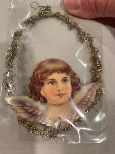 Antique Victorian Scrap Die Cut Dresden Angel Tinsel Christmas Ornament #DJ