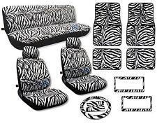 Animal Print Seat Covers Floor Mats White Zebra Front Rear License Frames CS