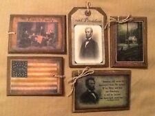 5 WOODEN PRiM Americana Christmas Ornaments/Hang Tags ABE LINCOLN/CABIN SET*3