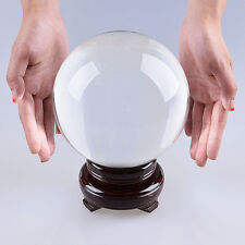 "LONGWIN 150mm 5.91"" D Clear Quartz Crystal Ball Sphere Photo Props Free Stand"