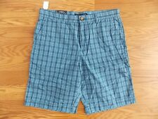 NWT Mens TOMMY HILFIGER Mainsail Blue Plaid Classic Fit Shorts Size 32 W