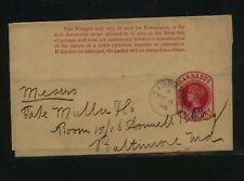 Barbados  revalued wrapper  1/2 d    to  US  1896        KS0405