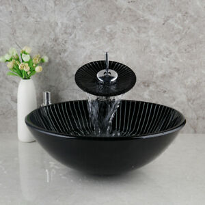 Bathroom Tempered Glass Black Round Wash Basin&Waterfall Spout Taps Overmounted