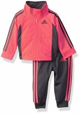 NWT Adidas Baby Girls 6M Tricot Zip Track Suit Jacket and Pant Set Orange Gray